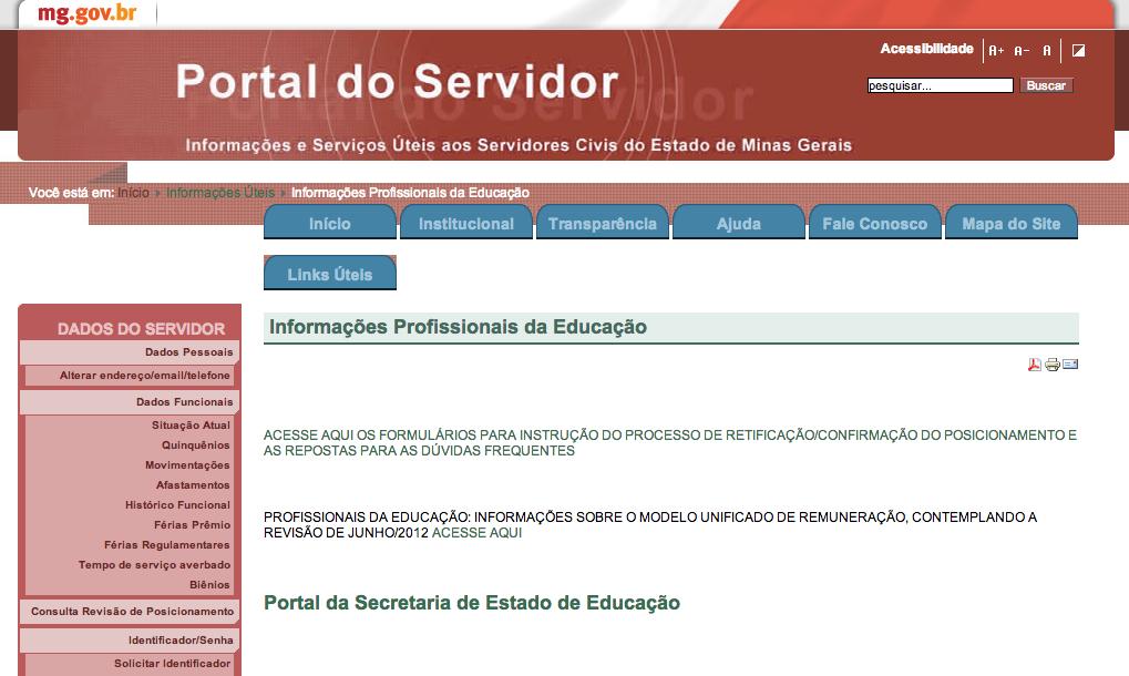 Portal do Servidor de Minas Gerais MG
