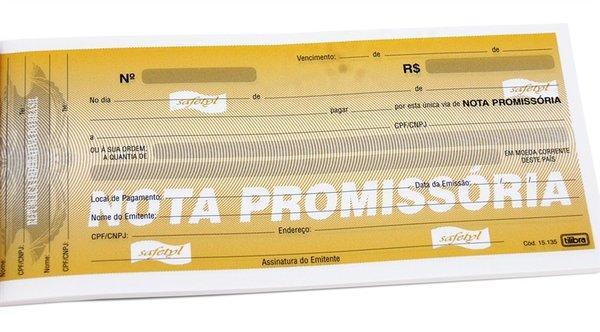 Exemplo de cartão de nota promissória